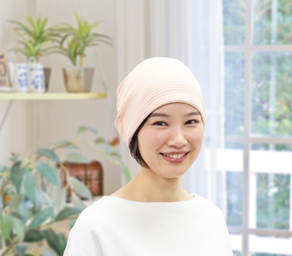 オーガニックコットン接結ガーゼ素材使用 髪の毛も透けず、伸縮性に優れた帽子
