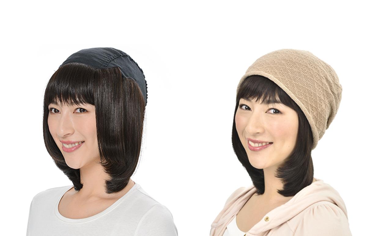 ガーゼキャップの快適髪付き帽子