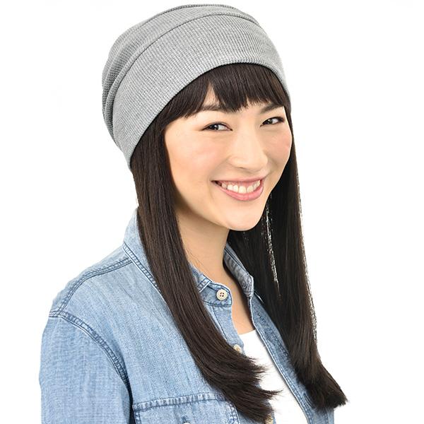 髪付き帽子+帽子着用